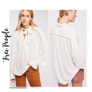 NWTFreePeople Embroidered Bohemian Tie-neck Blouse